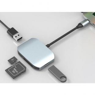 USB-HUB Comma Clian Card Reader Hub универсальный (USB Type C, 2 USB-порта 2.0, кард-ридер SD/TF Grey