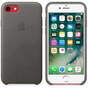 Чехол кожаный Apple оригинальный для iPhone 7 Plus и 8 Plus Темно-серый