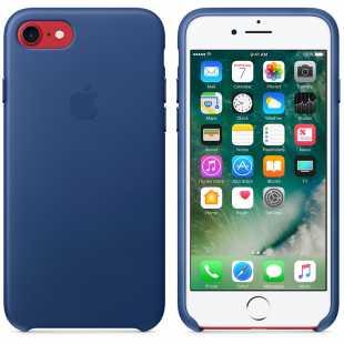 Чехол кожаный Apple оригинальный для iPhone 7 Plus и 8 Plus Синий