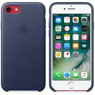 Чехол кожаный Apple оригинальный для iPhone 7 Plus и 8 Plus Темно-синий