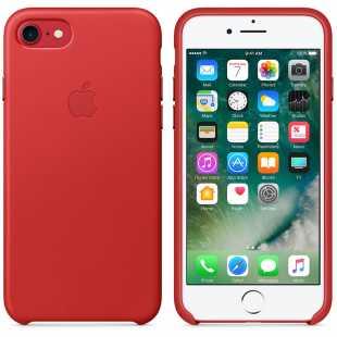 Чехол кожаный Apple оригинальный для iPhone 7 Plus и 8 Plus Красный