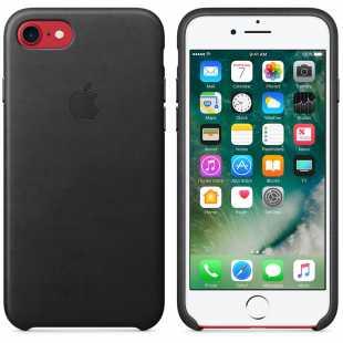 Чехол кожаный Apple оригинальный для iPhone 7 Plus и 8 Plus Черный