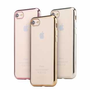 Чехол силиконовый прозрачный с рамкой для iPhone 8 и 8 plus